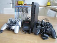 PS2 - Playsation 2, including 10 games and 4 controllers. L23 area