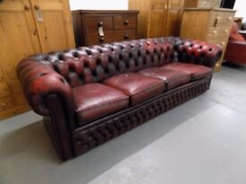 Vintage Ox Blood Red 4 Seater Leather Chesterfield Sofa