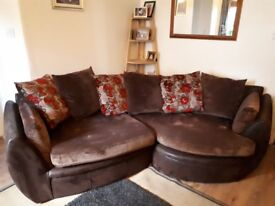 Gorgeous brown corner sofa and footstool