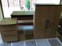 Office Desk, Large Cupboard, set of drawers, chair and hutch in light oak colour.