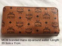 MCM branded mens wallet in 'cognac' colour-unused.