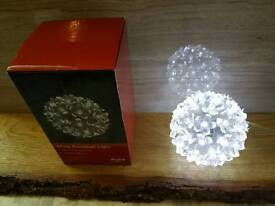 2 NEW WHITE MULTIFUNCTION SNOWBALL LIGHTS. INDOOR