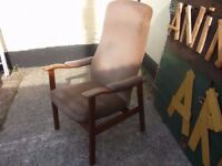 Brown Fabric Wood Framed Armchair Shabby Chic Project Delivery Available £10