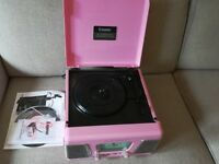 Steepletone Roxy1 Record Player, retro style, pink. Used once, new condition.