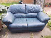 3 + 2 Italian Blue Leather sofa