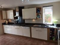 Kitchen units for sale. With or without appliances and GRANITE worktop High gloss cream slab doors.