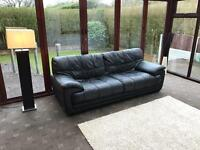 Violino® Italian Black Leather Large 3 Seater Sofa