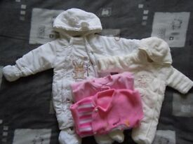 Snowsuit, pramsuit, sleepsuits bundle