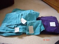 Three New Turquoise Bath Towels, Matching Flannels & Two Purple Hand Towels