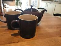 Le Creuset Tea Pot and 2 Mugs