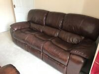 High quality brown leather electric recliner sofa and arm chair