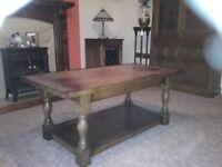 Dark teak distressed wood coffee table