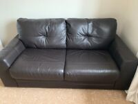 Double sofa bed in chocolate brown