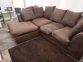 Beautiful brown leather corner sofa