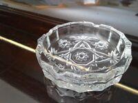 ASH TRAYS (full box)-- beautiful glass cut, vintage *CHARITY SALE*
