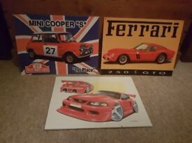 Ferrari tin plate picture and 2 others