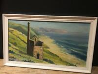 Vintage Cornish st ives oil painting decorative prop Cornwall scene