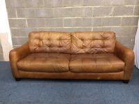Good Quality Aged Aniline Brown Leather Three Seater Sofa