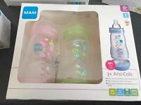 Mam self sterilising and anti colic bottles all new in box