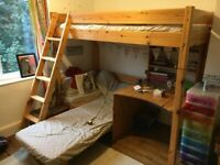 Bunk bed with desk and matters. Excellent condition nearly new