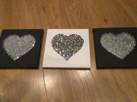 Brand new Set of 3 sparkly hearts canvas