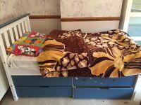 Children single bed blue color amd drawers