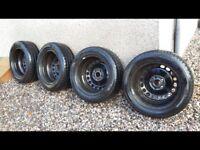 Winter tyres x4 with steel wheels.