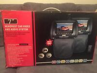 Headrest car video and audio system