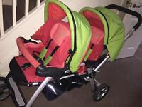 Jane double buggy with car seat foot muffs raincovers bag buggy board