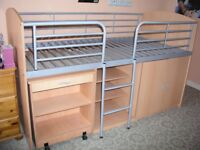 Cabin Bed with shelving, cupboard and pull out desk in good condition.