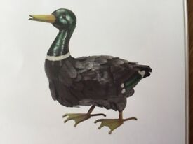 Garden Ornament , Metal Mallard Duck with 4 Ducklings
