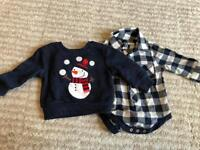 Baby boys checked shirt and Xmas jumper age 0-3 months