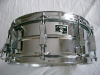 Sonor D556 seamless ferro manganese steel snare drum 14 x 5 1/2 - Germany - Circa '75- Vintage