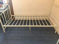 Free metal frame single bed frame cream
