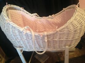 Girls Moses basket with stand