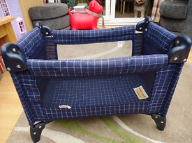 BLUE DOLLS TRAVEL COT COMPLETE WITH BEDDING