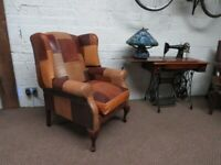 Laura-Ashley Patchwork Leather Chair (Recovered)