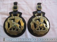 2 Large Vintage Elephant & Castle Horse Brasses - Good Condition - COLLECTION ONLY PLEASE