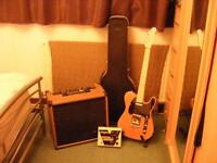 Squire telecaster guitar with Stagg amp, Behringer foot switch, flight case and stand.