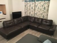 Harveys Brown Leather Corner Sofa