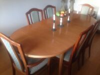 MacIntosh extendable dining table and six Ercol chairs