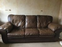 DISTRESSED LEATHER 3 SEATER SOFA