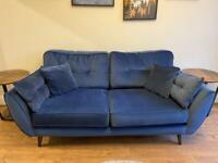 DFS Zinc 3 seater sofa in navy Luxe velvet