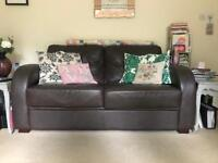Leather 2 seater sofa bed