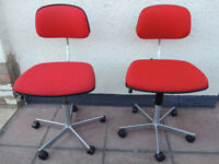 Compact red Fritz chairs x 6 available (Delivery)