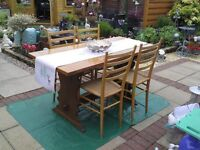 REFECTORY TABLE AND CHAIRS