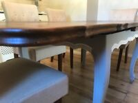 Antique French draw leaf table with parquet top
