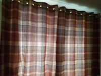 Next terracotta checked lined curtains