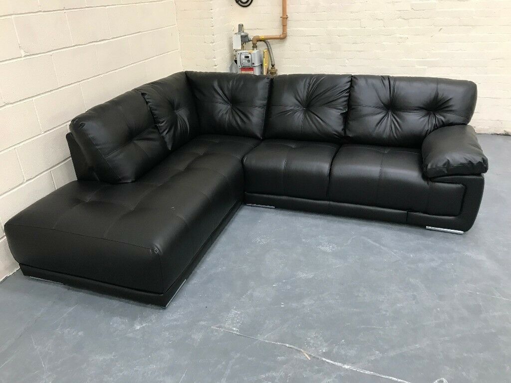 Ex Display Clearance Corner Sofa Black Leather Left Hand Facing Must Go Quidk Delivery