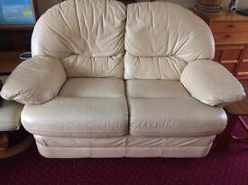 2 two seater cream leather sofas